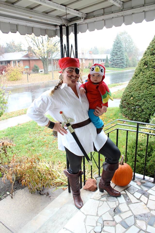 pirate and parrot halloween costume for mom and baby