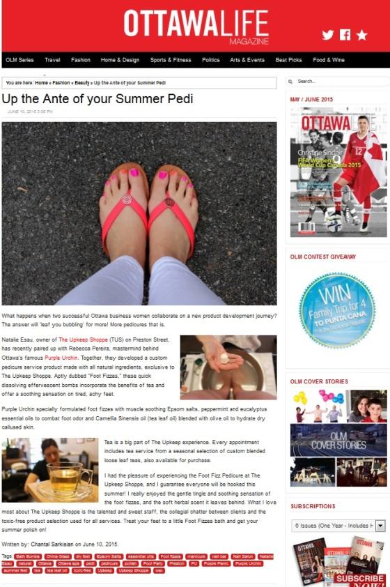 Ottawa Life Magazine Upkeep Shop Article Up the Ante of your summer pedi Chantal Sarkisian Purple Urchin